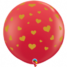 3ft Giant Balloons -  Red Random Hearts (Gold Ink) 3ft Balloon 2pc